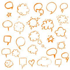 Orange Hand Draw Speech Bubble