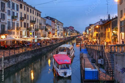 Fotobehang Kanaal Navigli Grande, Milan, Italy