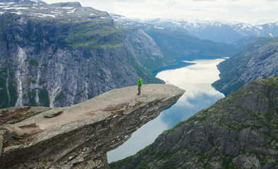 A vibrant picture of famous norwegian hiking place - trolltunga,