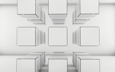 Abstract grayscale cubes background