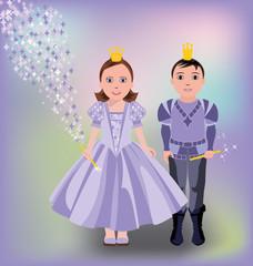 Little magic princess and prince, vector illustration