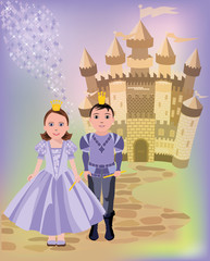 Magic castle and  princess with prince, vector