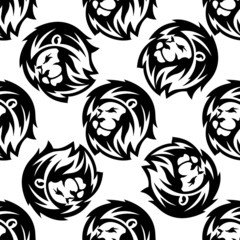 Seamless pattern of a proud lion