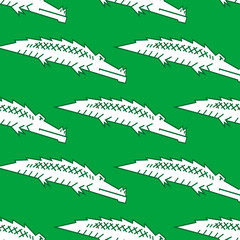 Green crocodile seamless pattern