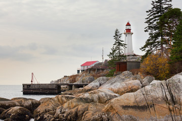 West Coast BC Canada granite rock cliff lighthouse