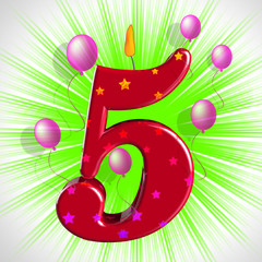 Number Five Party Shows Cake Decoration Or Birthday Cake