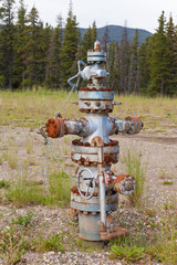 Oil gas industry wellhead flange gear locked shut
