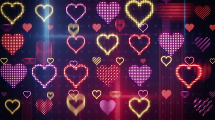 twitching glowing heart shapes loopable background
