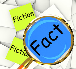 Fact Fiction Post-It Papers Mean Correct Or Falsehood