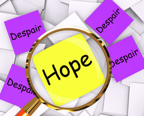 Hope Despair Post-It Papers Show Longing And Desperation