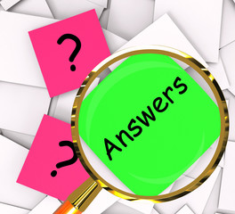 Questions Answers Post-It Papers Show Questioning And Explanatio