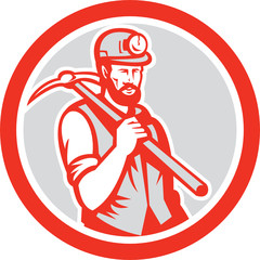 Coal Miner Hardhat Holding Pick Axe Circle Woodcut