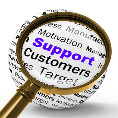Support Magnifier Definition Shows Customer Support Or Assistanc