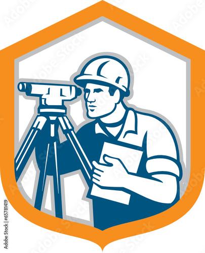 Surveyor Geodetic Engineer Survey Theodolite Shield Retro - 65781419