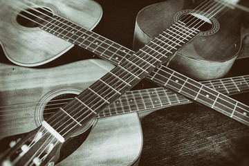 Vintage Acoustic Guitars Crossed