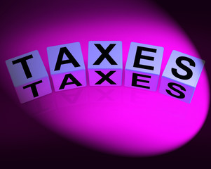 Taxes Dice Represent Duties and Taxation Documents