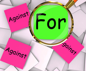 For Against Post-It Papers Show Agree Or Disagree To