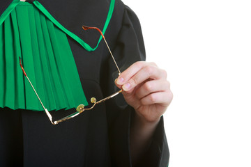 Part of body. Lawyer attorney in classic polish black green gown