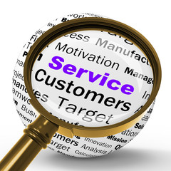 Service Magnifier Definition Shows Assistance Or Customer Suppor