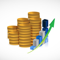 coins and business graph illustration design