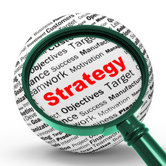 Strategy Magnifier Definition Shows Successful Planning Or Manag