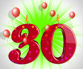 Number Thirty Party Mean Red Cake Candles Or Birthday Candles