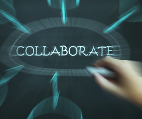 Collaborate Diagram Shows Working Together And Synergy