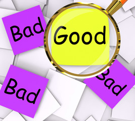 Good Bad Post-It Papers Show Excellent Or Dreadful