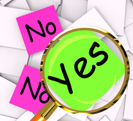 Yes No Post-It Papers Mean Answers Affirmative Or Negative