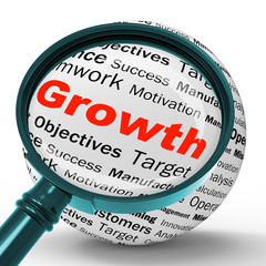 Growth Magnifier Definition Shows Business Progress Or Improveme