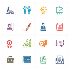 School & Education Icons Set 4 - Colored Series