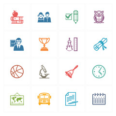 School & Education Icons Set 3 - Colored Series