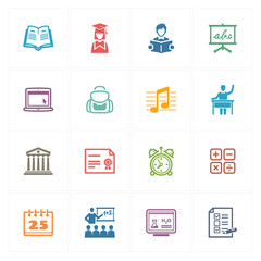 School & Education Icons Set 2 - Colored Series