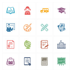 School & Education Icons Set 1 - Colored Series