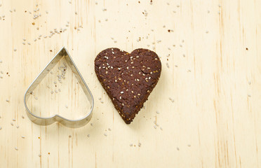 Healthy dark chocolate chia seed love heart cookie
