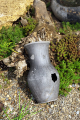 Old retro amphora in garden