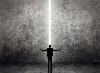 Asian business man facing the light