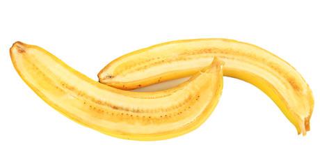 Halved ripe banana isolated on white background