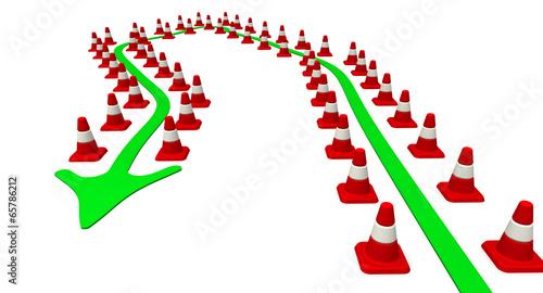 Траектория движения, ограниченная дорожными конусами