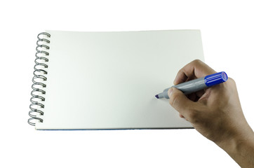 Man about to write on a blank sketch pad
