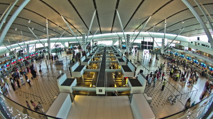 Airport Travelers Time Lapse Fisheye