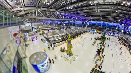 Airport Travelers Time Lapse Bangkok Fisheye