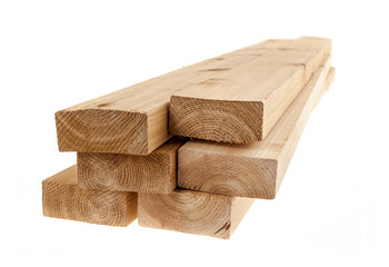 Isolated 2x4 wood boards