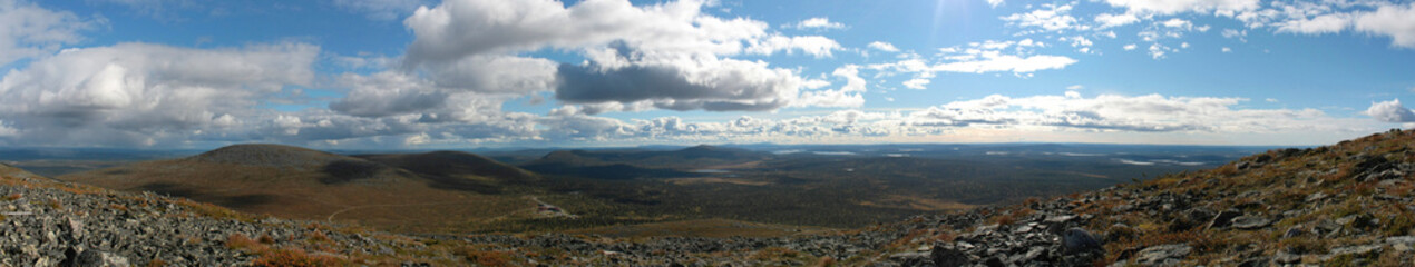 Panoramic view from Yllästunturi in Lapland, northern Finland.