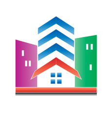 Modern real estate buildings logo vector colorful icon