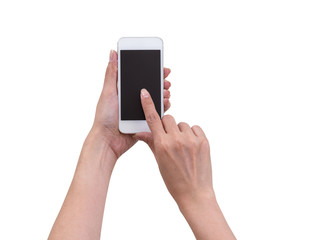 Women hands holding and touching smartphone isolated on white ba