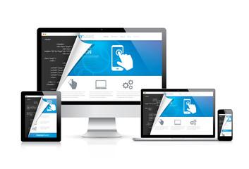 Internet web coding development with modern flat cool design