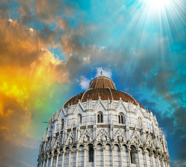 Architectural detail of Miracles Square in Pisa on a beautiful s