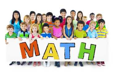 Diverse Cheerful Children Holding the Word Math