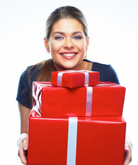 Young smiling model hold gift box.